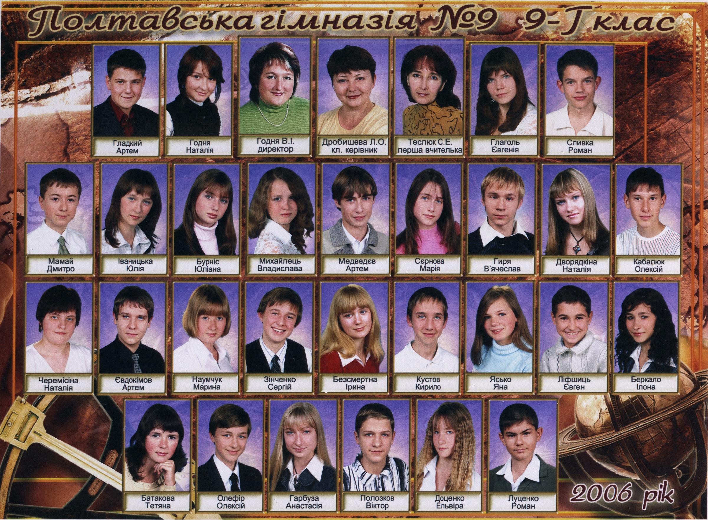 Полтавська гімназія 9 Випуск 2006 9-Г Дробишева Людмила Олександрівна